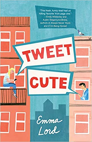 Tween Cute by Emma Lord (cover) Image: graphic of two apartment buildings shows a teen in each on social media