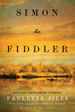Simon the Fiddler by Paulette Jiles (cover) Image: a golden wilderness landscape including sky and a river