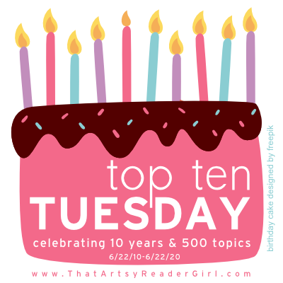Top Ten Tuesday celebrating 10 years (image: a birthday cake with 10 candles)