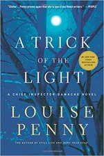 A Trick of the Light by Louise Penny (cover) White text over moonlit trees