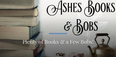 Ashes Books & Bobs (Image: a stack of books on the left and a tea kettle and china cups on the right)