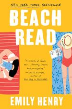 Beach Read by Emily Henry (over) Image: a woman lies face down on a beach towel and a man sits on a beach towel nearby reading