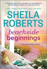 Beachside Beginnings by Sheila Roberts (cover) Image: flip flops and beach bag on a wooden front porch and a path leading to the beach in the background