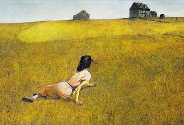 Christina's World painting by Andrew Wyeth (Image:) a young woman drags herself across a prairie toward a solitary house on a hill