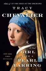Girl With a Pearl Earring by Tracy Chevalier (cover) Image: 17th cuntury portrait of a girl looking over her shoulder at the camera wearing a blue and gold head covering and a pearl earring