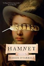 Hamnet by Maggie O'Farrell (cover) Image: head shot of a young boy wearing a hat and a large feather hides his eyes