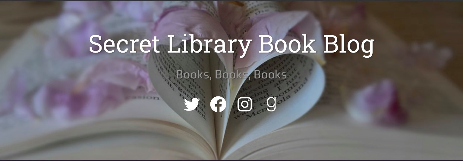 Secret Library Book Blog (white text over a background of an open book that has the center two pages folded into a heart shape...lilac colored petals are strewn around)
