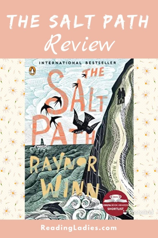 The Salt Path by Raynor Winn (cover) Image: two people hike a steep cliff next to the ocean