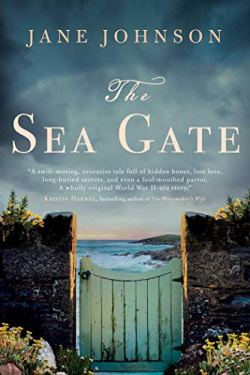 The Sea Gate by Jane Johnson (cover) Image: a stone wall with a small white wooden gate leading to the beach