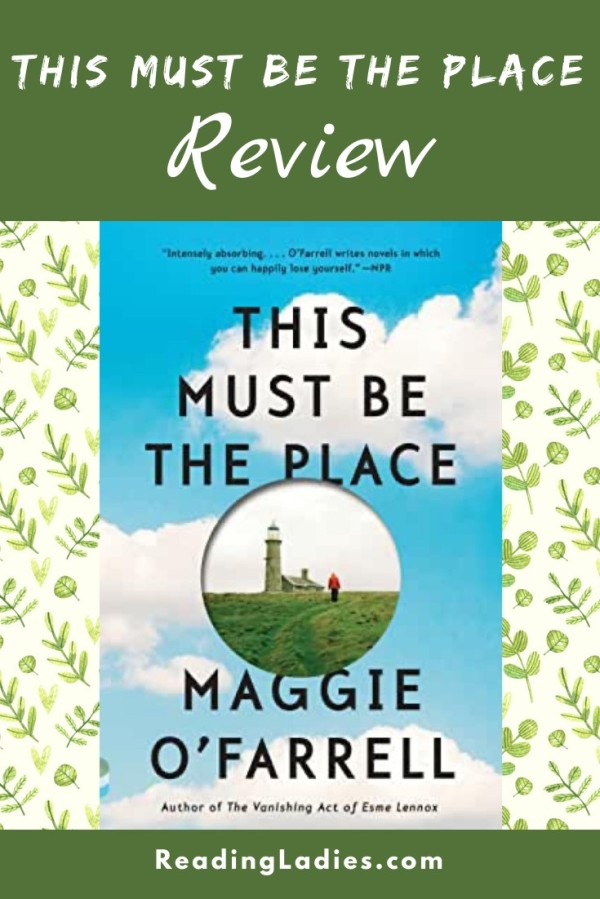 This Must Be the Place by Maggie O'Farrell (cover) Image: a home with a person walking toward it fills a circle surrounded by a blue cloud filled sky