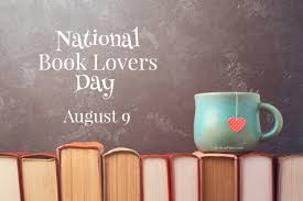 National Book Lover's Day, August 9 (image: a blue coffee mug sits on the spines of a line of books