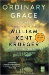 Ordinary Grace by William Kent Krueger (cover) Image: a wooden railroad trellis over a river underneath a partially cloudy sky