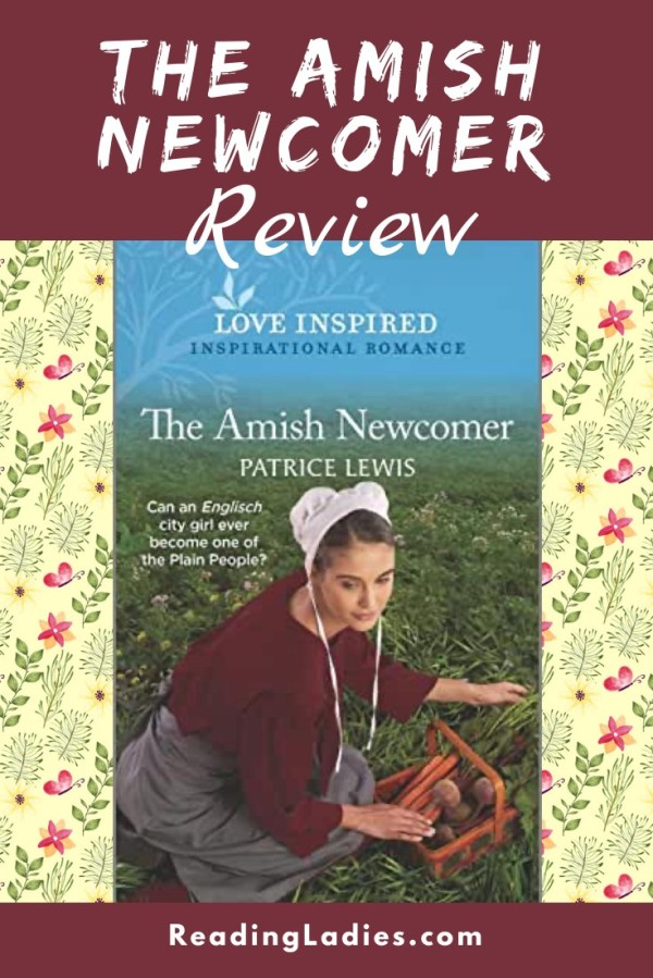 The Amish Newcomer by Parice Lewis (cover) Image: a young womens kneels in a fielf to pick carrots and potatoes from a garden putting them in a brown wicker basket
