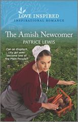 The Amish Newcomer by Patrice Lewis (cover) Image: a young woman kneels in a garden to pick carrots and potatoes putting them in a brown wicker basket