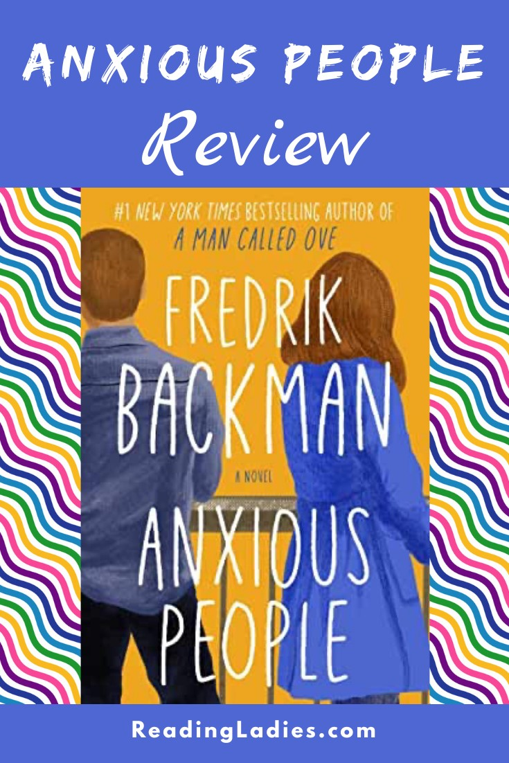 Anxious People by Fredrik Backman (cover) Image: a man and woman stand with backs to the camera on a balcony looking into the distance