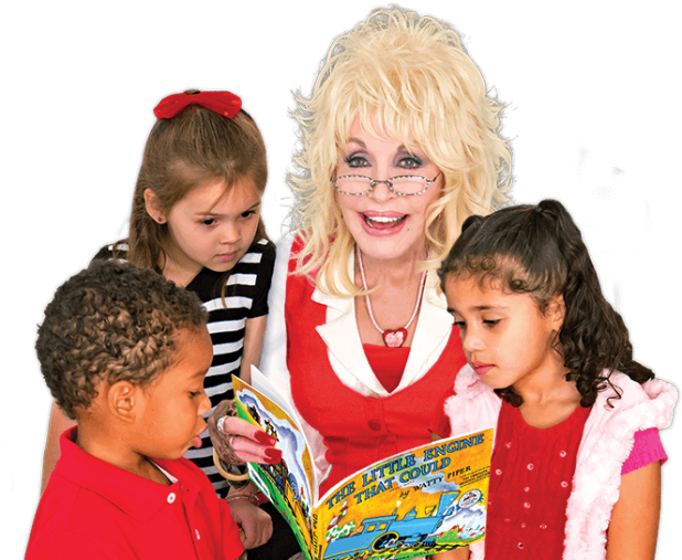 Dolly Parton reading to three children