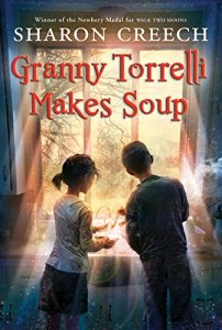 Granny Torrelli Makes Soup by Sharon Creech (cover) Image: a young girl and young boy stand at the kitchen sink