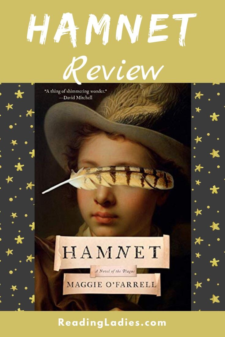 Hamnet by Maggie O'Farrell (cover) Image: portrait of a young boy in a felt hat....a quill lies horizontally over his eyes