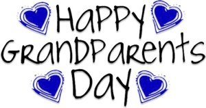 Happy Grandparents Day text with blue hearts