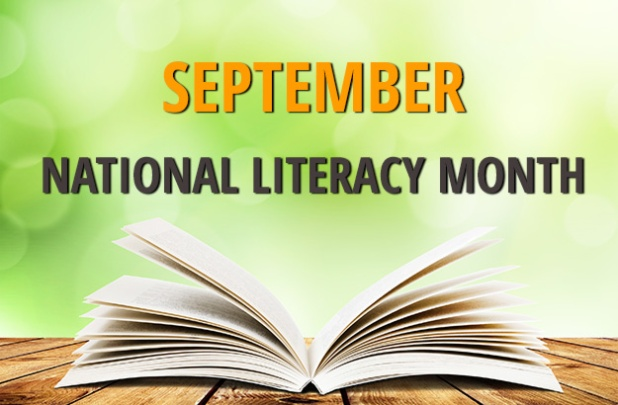 September: National Literacy Month (Image: text above an op