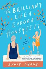 the Brilliant Life of Eudora Honeysett by Annie Lyons (cover) Image: two people by a pool...one sitting on the deck, the other holding her nose and jumping in