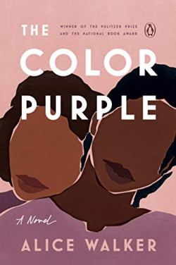 The Color Purple by Alice Walker (cover) Image: two black women, one leaning over the shoulder of the other