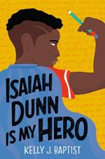 Isaiah Dunn Is My Hero by Kelly Baptist (cover) Image: the back view of a middle grade boy wearing a blue superhero cape and holding a pencil