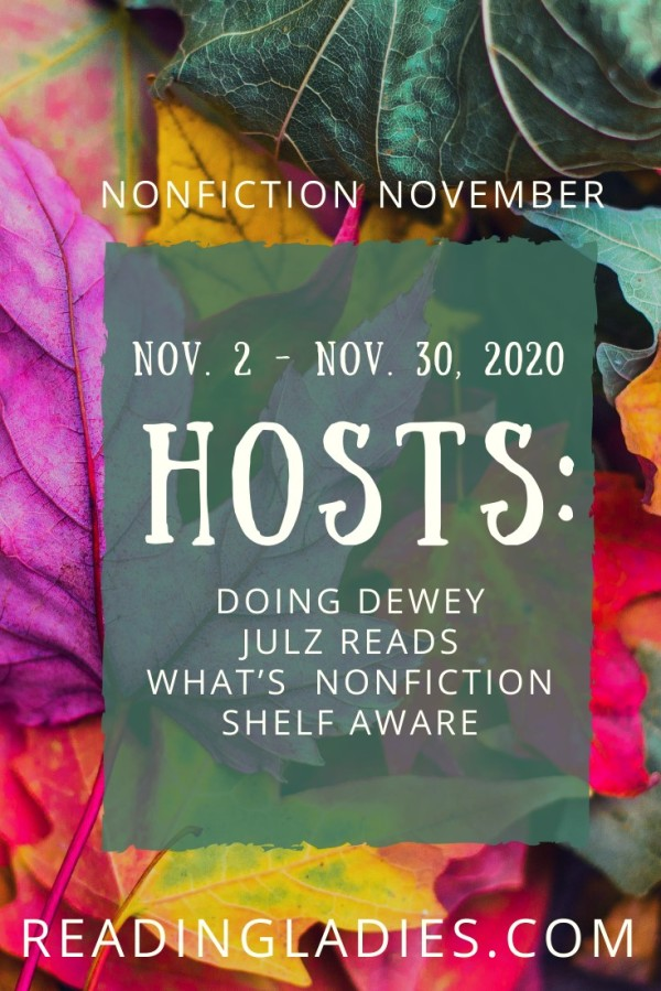 Nonfic Nov (Image: a list of hosts and dates on a background of vibrantly colored fall leaves)