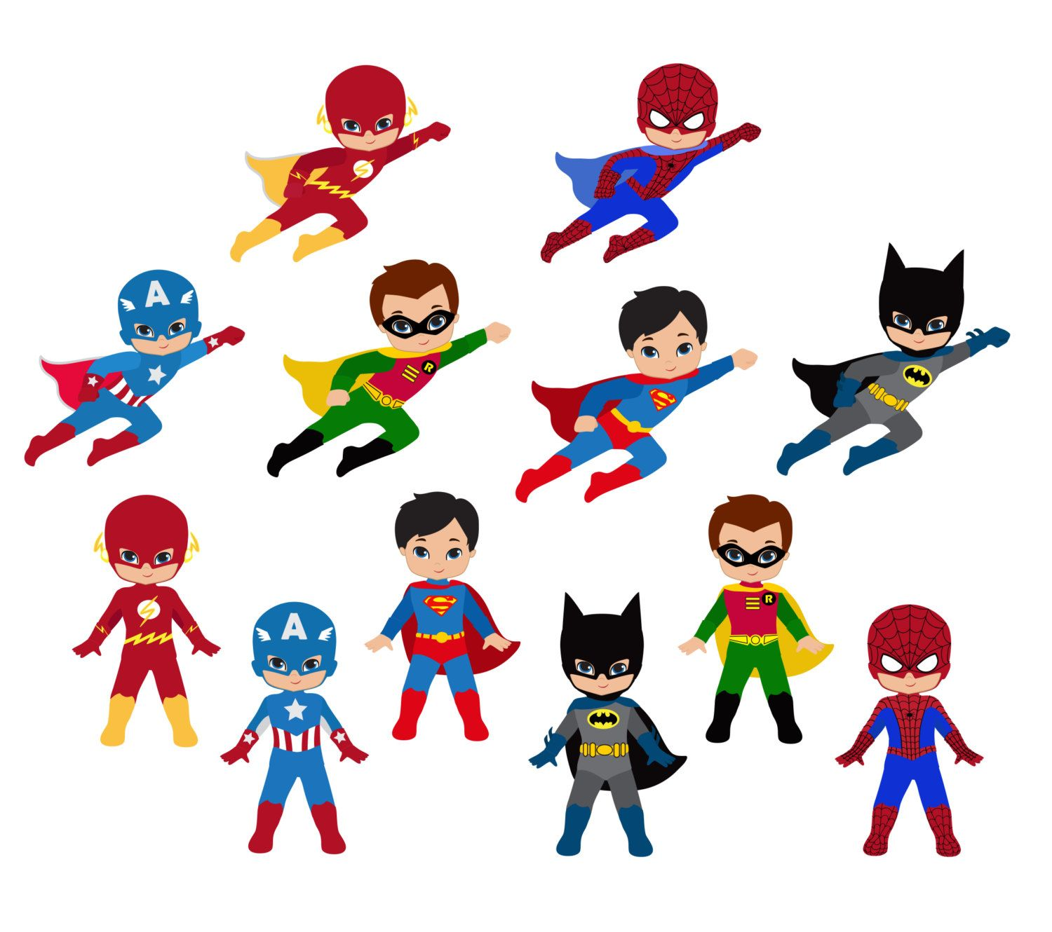 a cartoon drawing of several superheroes