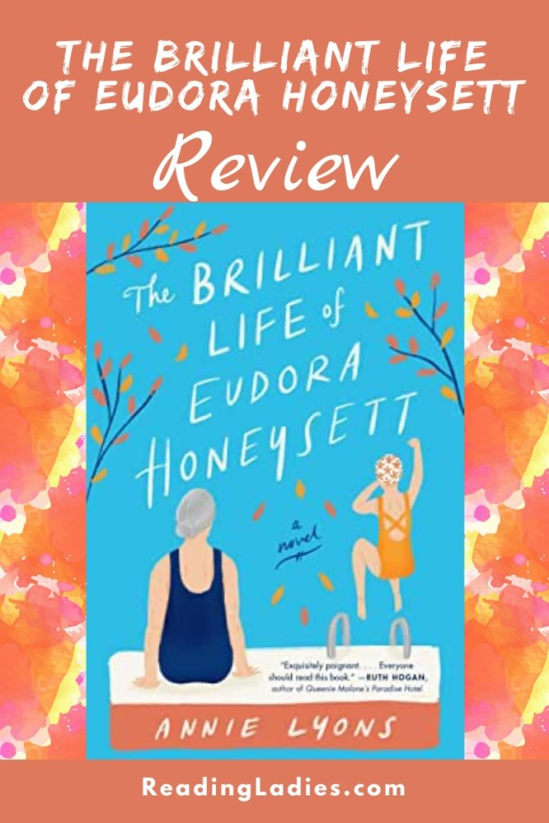 The Brilliant Life of Eudora Honeysett by Annie Lyons (cover) Image: a graphic of a woman sitting at the edge of a pool and a younger girl jumping in while holding her nose
