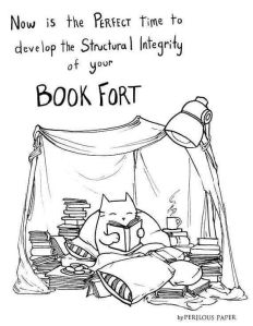 A book fort made of sheets and filled with stacks of books