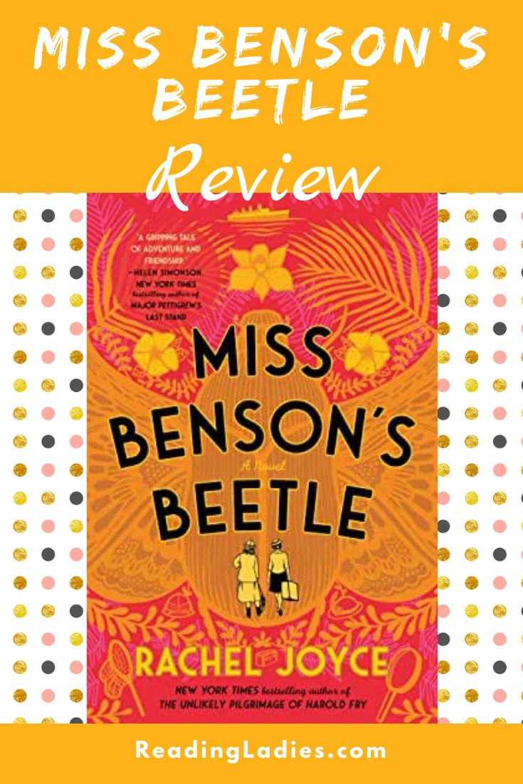 Miss Benson's Beetle by Rachel Joyce (cover) Image: black and gold text over a gold beetle and bright pink background
