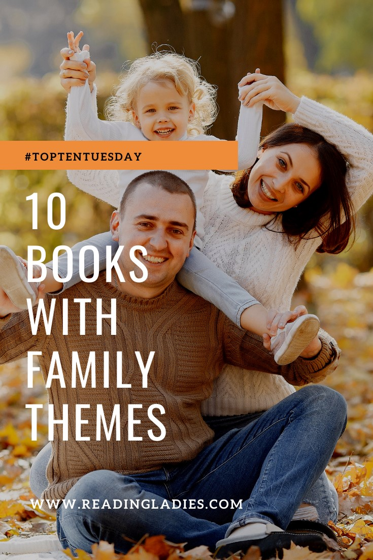 TTT 10 Books With Family Themes (Image: a father and mother sit on the ground and hold their small daughter on their shoulders)
