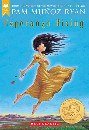 Esperanza Rising by Pam Munoz Ryan (cover) Image: a young hispanic girl dances in the fields