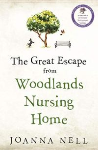 The Great Escape From Woodlands Nursing Home by Joanna Nell (cover) Image: a tree, a bench, and a dog....black text on white background