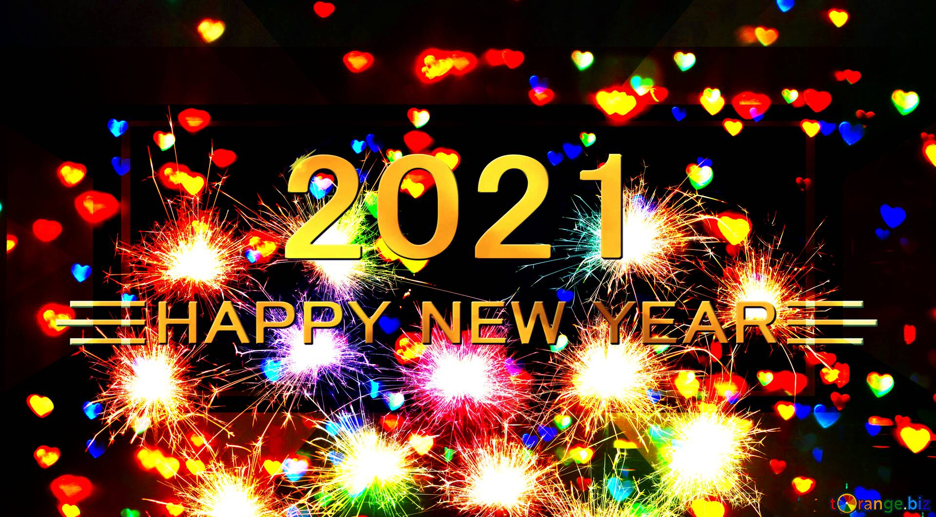 Happy New Year 2021 (Image: gold text on colorful fireworks background)
