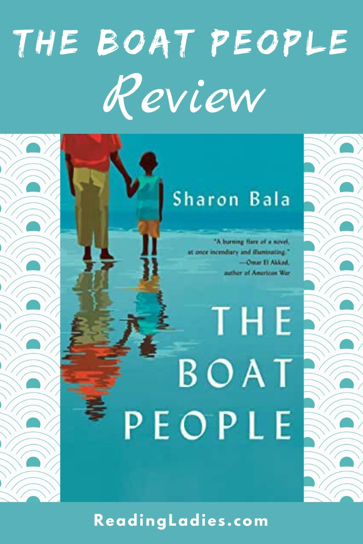the Boat People by Sharon Bala (cover) Image: a man holds a young boys hand and stands on the beach looking out over the ocean