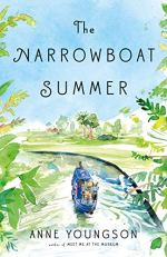 The Narrowboat Summer by Anne Youngson (cover) Image: a small boat floats down a lazy river in the countryside
