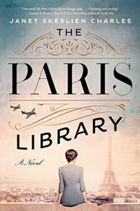 The Paris Library by Janet Skeslien Charles (cover) Image: a woman sits on a wall with her back to the camera overlooking the Eiffel Tower in the distance