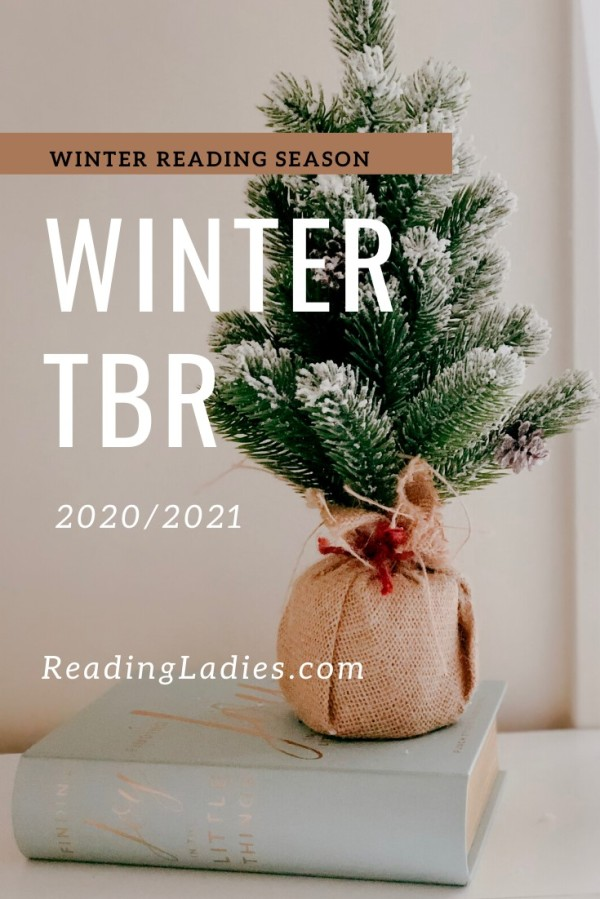 Winter TBR 2020/2021 (image: a small flocked tree with a burlap wrapped pot sits on a white hardback book