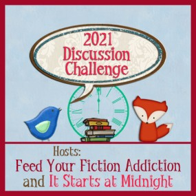 2021 discussion challenge graphic (a blue bird and red fox and wall clock and stack of books graphic)
