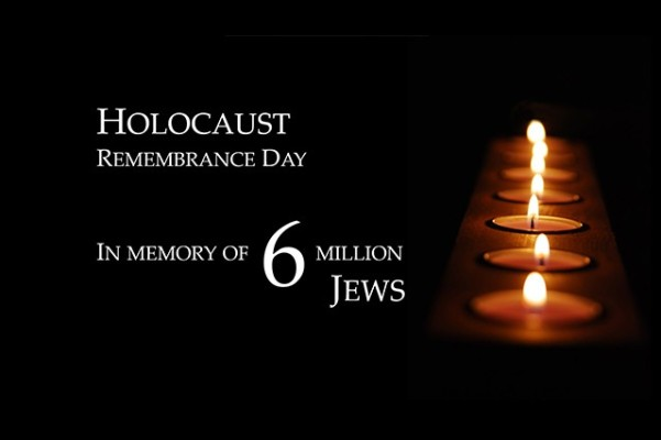 Holocause Remembrance Day: In Memory of 6 Million Jews (white text on black background, a row of candles burn)