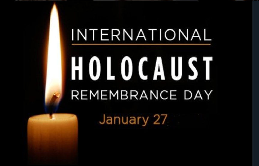 International Holocaust Remembrance Day (white text on black background, one single candle)