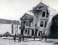 damaged three story house in the San Francisco earthquake
