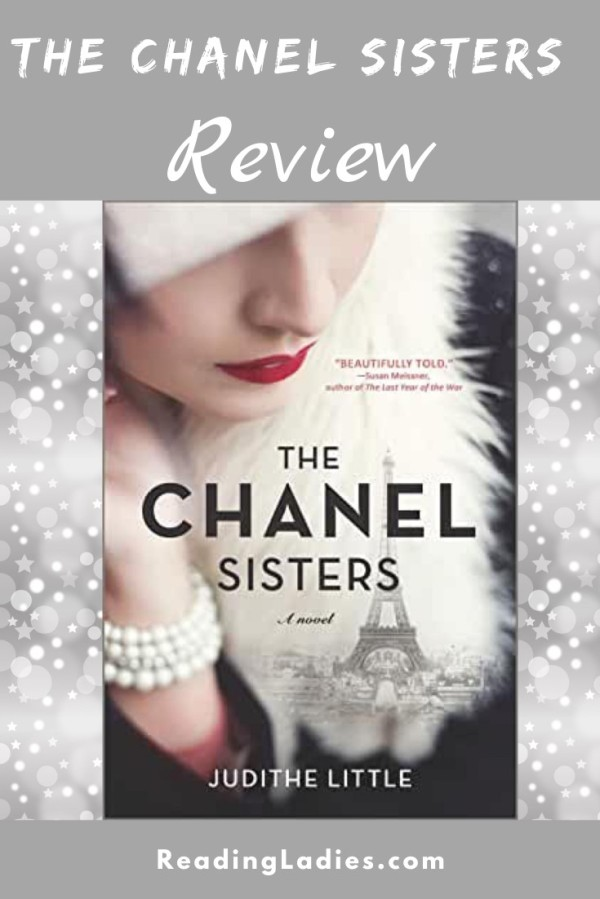 The Chanel Sisters by Judithe Little (cover) Image: a close up image of a woman's face...wearing red lipstick, a white fur hat, white bracelet... the image of the Eiffel Tower in the background