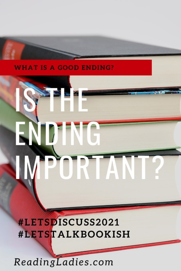 What is a Good Ending? (text over a background of a stack of hardback books)