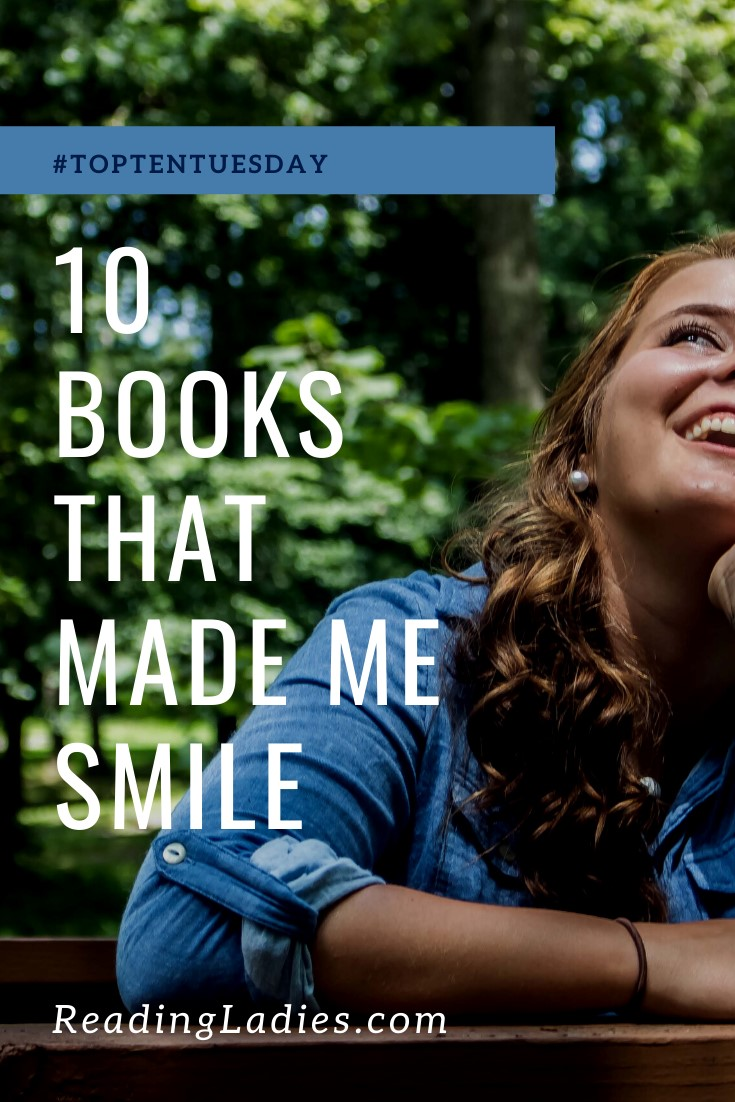 10 Books That Made Me Smile (image: a woman seated with her hand at her chin looking up and laughing)