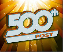 500th post (white text over a sunburst background)