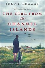 The Girl From the Channel Islands by Jenny Lecoat (cover) Image: a woman stands in an empty field beside her bike overlooking a small village while planes fly overhead