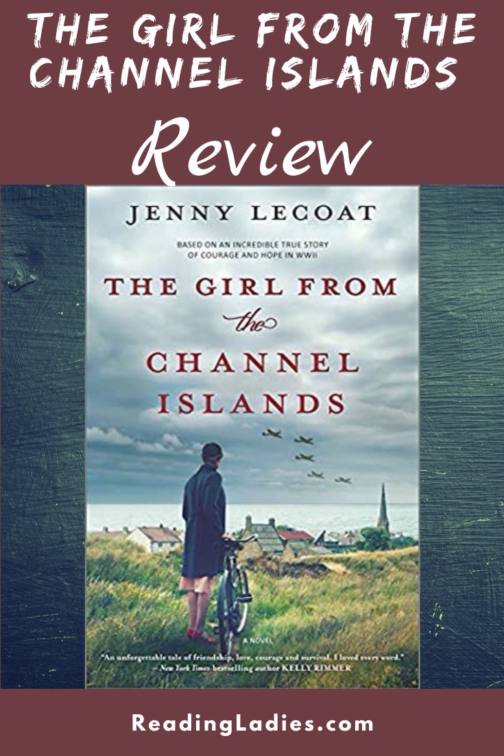 The Girl From the Channel Islands by Jenny Lecoat (cover) Image: a woman stands in an open field beside a bicycle overlooking a small village and airplanes in the sky